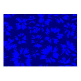Djupblå abstrakt blom- modell set av breda visitkort