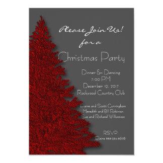 Djupt - den röda och för kol gråa julen festar 12,7 x 17,8 cm inbjudningskort