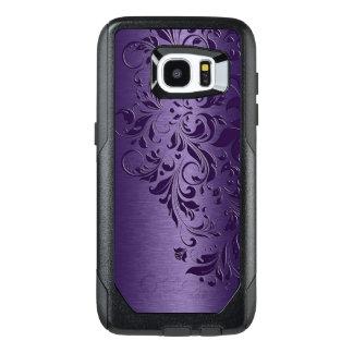 Djupt - purpurfärgad bakgrund & flickaktigt blom- OtterBox samsung galaxy s7 edge skal