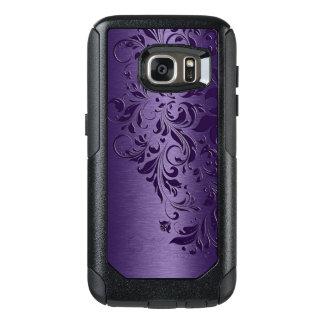 Djupt - purpurfärgad bakgrund & flickaktigt blom- OtterBox samsung galaxy s7 skal
