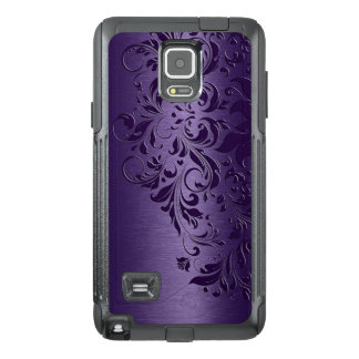 Djupt - purpurfärgad bakgrund & flickaktigt blom- OtterBox samsung note 4 skal