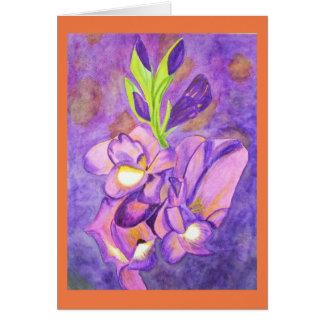 Djupt - purpurfärgad gladiolasvattenfärg hälsningskort
