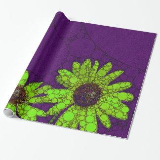 Djupt - purpurfärgade fluorescerande solrosor presentpapper