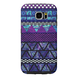 Djupt - purpurfärgat Boho stam- randmönster Samsung Galaxy S6 Fodral