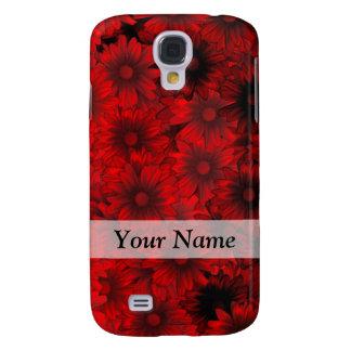 djupt - röd blommönster galaxy s4 fodral