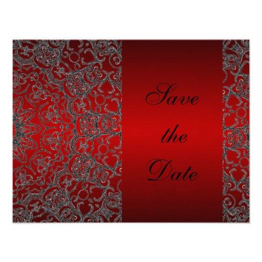 Djupt - röd elegant modern snörespara datera tillkännagivanden