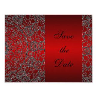 Djupt - röd elegant modern snörespara datera 10,8 x 14 cm inbjudningskort