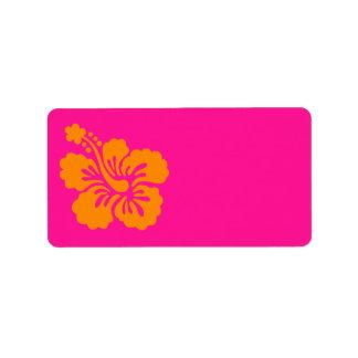 Djupt - rosa och orange hibiskus adressetikett