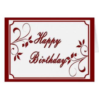 Djupt - rött grattis på födelsedagenkort hälsningskort