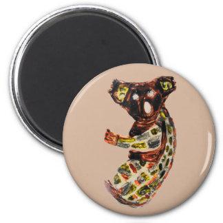 Djur Aboriginal konst för Koalavild Magnet Rund 5.7 Cm