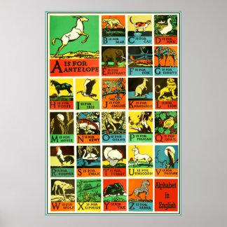 Djur affisch för Abc-alfabet - undervisning bistår
