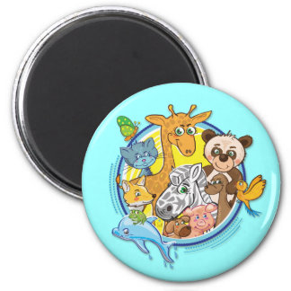 Djur alla 2 tillsammans - magnet magnet rund 5.7 cm