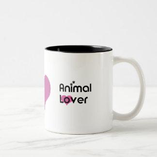 Djur älskarehjärtamugg Två-Tonad mugg