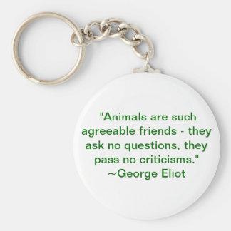 Djur är sådan angenäma vänner rund nyckelring