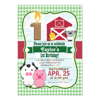 Djur barnfödelsedagsfest inbjudan för lantgård