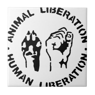 Djur befrielse - människabefrielse kakelplatta