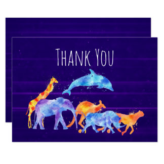 Djur flock för vild på lilaabstrakttack 8,9 x 12,7 cm inbjudningskort
