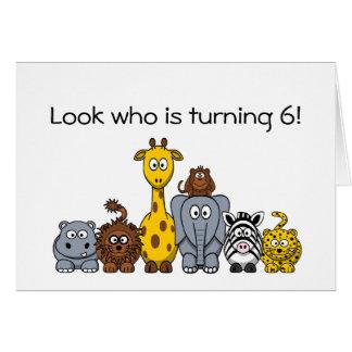 djur för djungel för tecknad för 6efödelsedaginbju hälsningskort