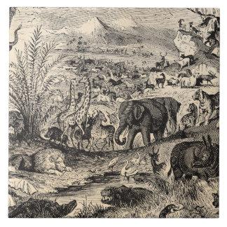 Djur för illustration för vintage1800s afrikanska kakelplatta
