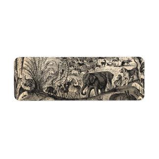 Djur för illustration för vintage1800s afrikanska returadress etikett