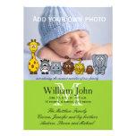 Djur för pojketillkännagivande för födelsedjungel individuella inbjudningskort