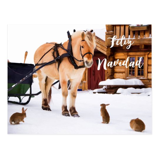 Djur för snö för idyll för Feliz Navidad julland Vykort