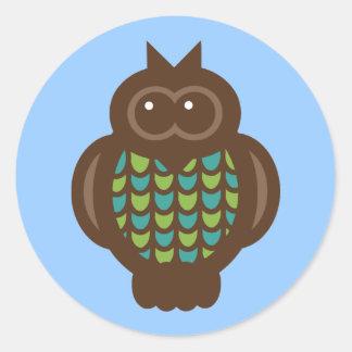 Djur för tecknad för fåglar för ugglaugglafågel runt klistermärke