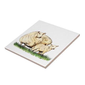djur för två får belägger med tegel kakelplatta