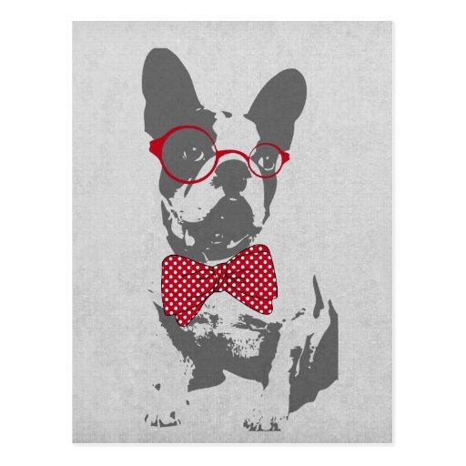 Djur fransk bulldogg för gullig rolig moderiktig v vykort