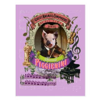 Djur kompositör Paganini Piggienini för rolig gris Vykort