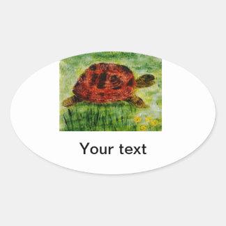 Djur konstsköldpadda för reptil ovalt klistermärke