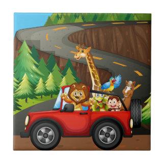 Djur och bil kakelplatta