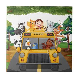 Djur och buss kakelplatta