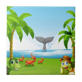 Djur och hav kakelplatta