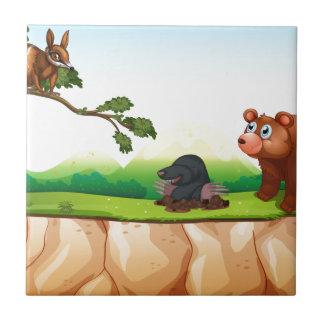 Djur och klippa kakelplatta