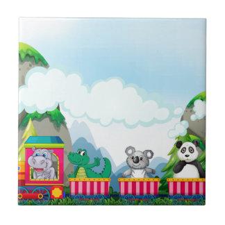 Djur och tåg kakelplatta