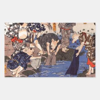 Djur som färgar tyger av Utagawa Kuniyoshi Rektangulärt Klistermärke