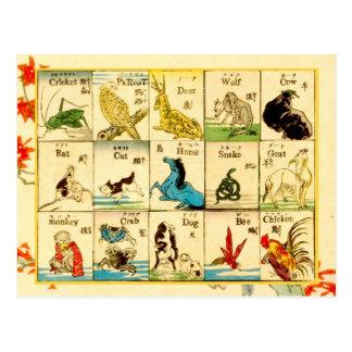 Djur som märks i japan & engelska vykort