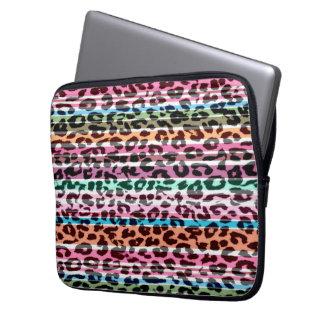 Djur tryckpäls för Retro randar av leoparden Laptop Sleeve