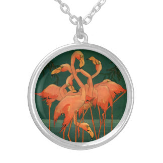 Djura fåglar för vintagevild, tropiska rosa silverpläterat halsband