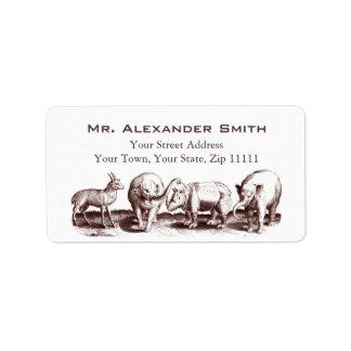 Djura gravyrelefanter för renaissance, noshörning adressetikett