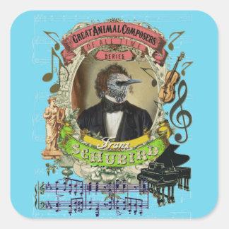 Djura kompositörer Schubert Schubird för rolig Fyrkantigt Klistermärke