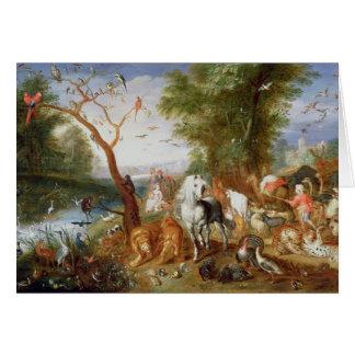 Djuren som skriver in Noahs ark Hälsningskort