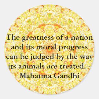 djurens rättighetercitationstecken - Mahatma Runt Klistermärke
