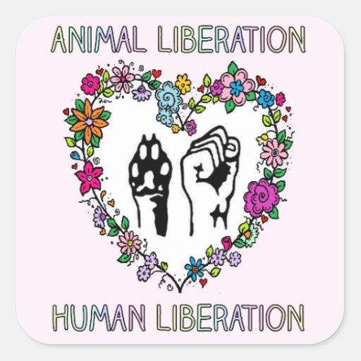 Djurens rättigheteretikett fyrkantigt klistermärke