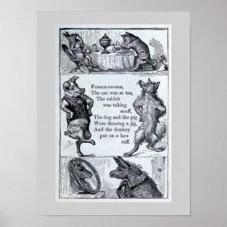 """djurillustration för vintage """"Lurendrejeri-de-dee"""" Poster"""