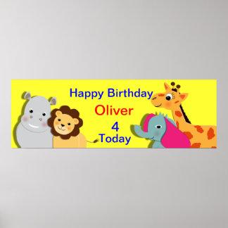 Djurt baner för temagrattis på födelsedagenpersonl affischer
