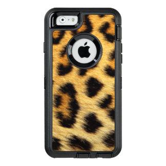 Djurt mönstertryck för svart brun guld- Leopard OtterBox Defender iPhone Skal
