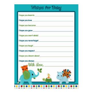 Djurt paradönskemål för babyrådgivningkort vykort