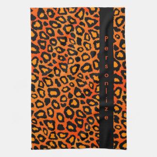 Djurt tryck för attraktiv ljus orange Leopard Handhanduk